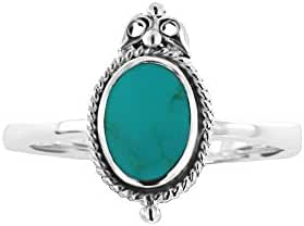 925 Oxidized Sterling Silver Royal Oval Turquoise Gemstone Ring, Size 7